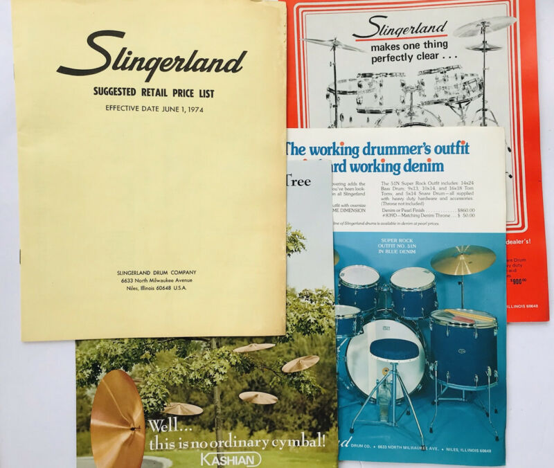 1974 Slingerland percussion pricelist with two vintage advertisements