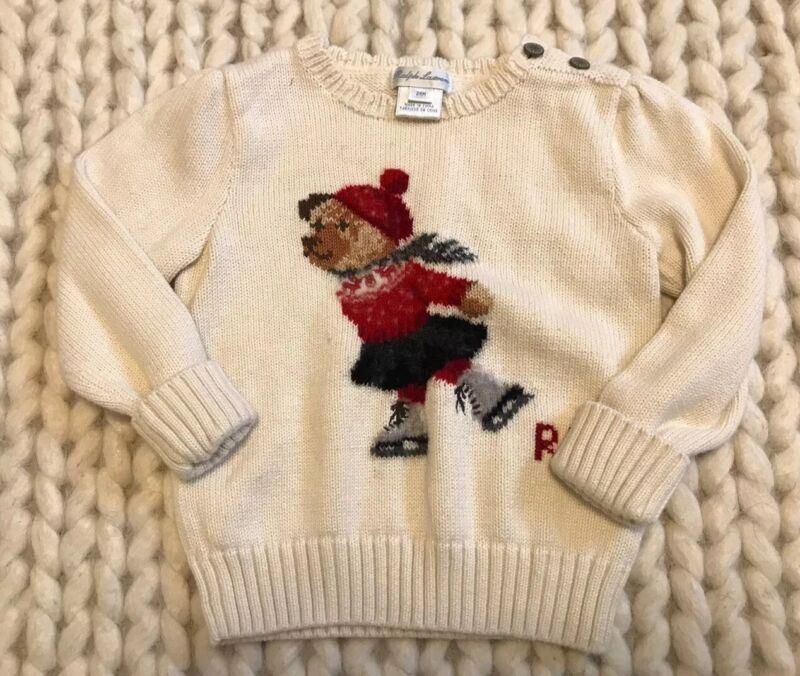Ralph Lauren Bear Sweater Ice Skating Red Ivory Knit Girls 24 months