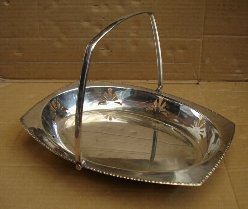 Stylish Vintage Silver Plate Dish/Fruit Bowl With Handle
