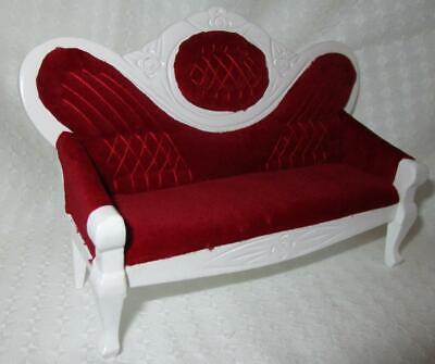 Couch/Sofa weiß + weinroter Samt, Maßstab 1:12, Miniatur f.d. Puppenstube #02#
