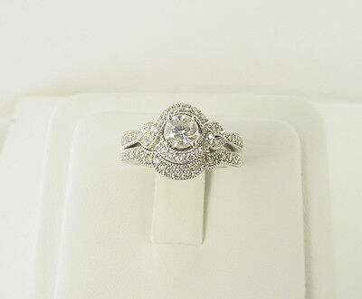 Estate 14k White Gold Round Brilliant Diamond Engagement Ring Wedding Set