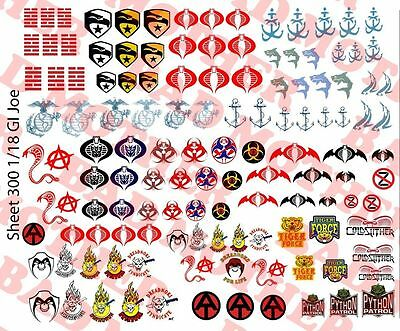 1/18 Custom Tattoos: GI Joe Cobra Shipwreck Gung Ho Dreadnok Waterslide Decals