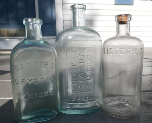 LOT OF THREE EMBOSSED ANTIQUE MIXED PRODUCT BOTTLES, 1800