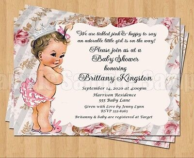 10 Vintage Baby Girl Baby Show 1st Birthday or Baby Shower Invitations ADORABLE](Baby Girl Invitations)