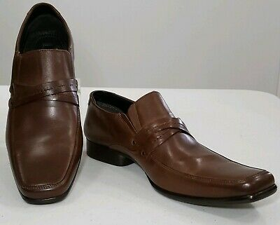Alfani Mens Size 13 M Square Toe Brown Leather Dress Work Shoes Slip On