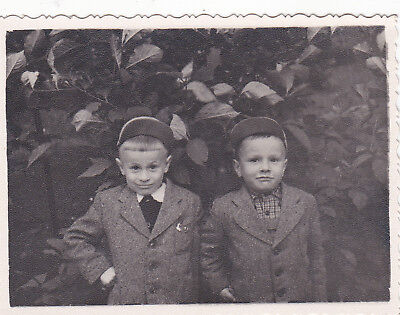 1950s Handsome young little boys brothers twins fashion old Russian Soviet photo