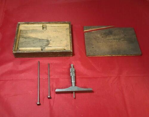 "Brown & Sharpe 607 Depth Gauge Micrometer 2-1/2"" base .001"" Machinist Tool"