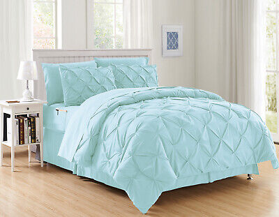 8 Piece Aqua Luxury Pintuck Comforter/Bedding with Sheet Set Bed-in-A-Bag