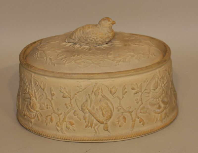 Antique Copeland Cane Ware Caneware Oval Covered Game Dish with Quail Finial