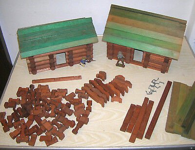 Uralter Blockhaus Baukasten für Indianer & Cowboy Figuren - ca. 1910/20er Jahre
