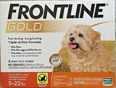 Frontline Gold For Small Dogs 5 22 Lbs 3 Pack  Epa Approved  Free Shipping