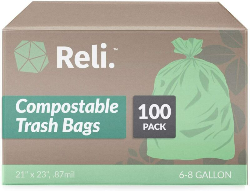Reli. Compostable Trash Bags 6-8 Gallon | 100 Count | ASTM D6400 | Green