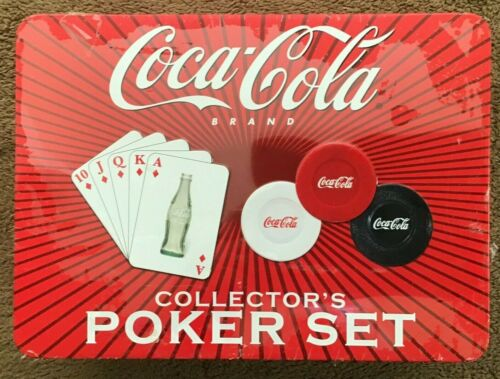 NEW, Coca-Cola 2004 Collector's Poker Set in Sealed Tin - 240 Chips & Card Deck