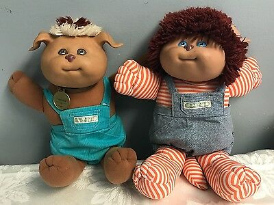 2 Vintage Cabbage Patch Kids Koosas Dog & Lion '85 Original Outfits Collar - Dog Lion Outfit