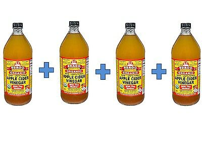 Bragg Organic Vinegar Raw Unfiltered Apple Cider Vinegar 32 fl oz, (4 PACK)