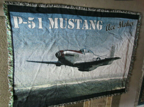"""Vintage WWII P-51 Mustang Ace Maker 54"""" x 72"""" Tapestry Blanket Throw"""