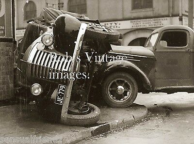 Vintage GMC International truck car wreck 1930s  antique photo print
