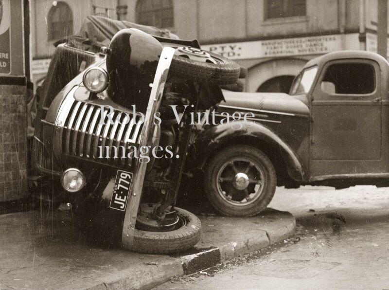 Vintage GMC International truck car wreck 1930s  antique photo print