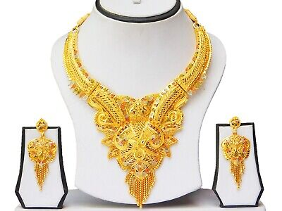 - Indian Bollywood Gold Plated Jewelry Fashion Wedding Necklace Earrings Set