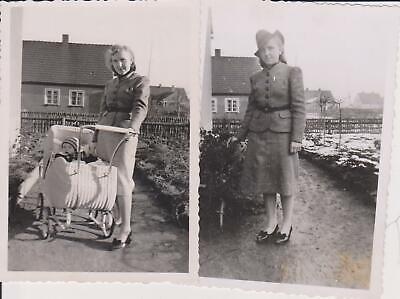 2 x Orig. Foto Frau in Uniform Kostüm Hut Kinderwagen (1940 Kinder Kostüm)