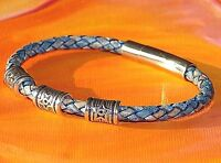 Mens / Ladies 5mm Antique Blue Leather & Steel Clasp Bracelet By Lyme Bay Art - lyme bay art - ebay.co.uk