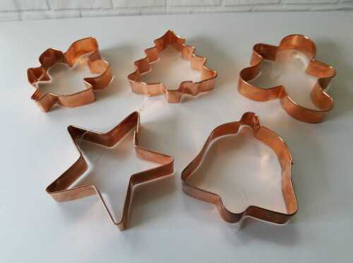 5 LARGE SOLID COPPER COOKIE CUTTERS