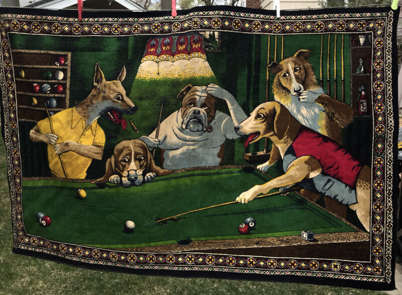 """VTG DOGS PLAYING BILLIARDS POOL TAPESTRY WALL HANGING 57""""x 38""""stamped Turkey"""