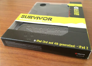 Griffin Survivor iPad (3rd & 4th Generation) and iPad 2 Military Case -Black-