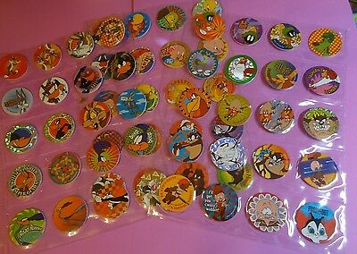 Pogs Looney Tunes   Set Of 60   1995   Sheets Included   Very Nice Set