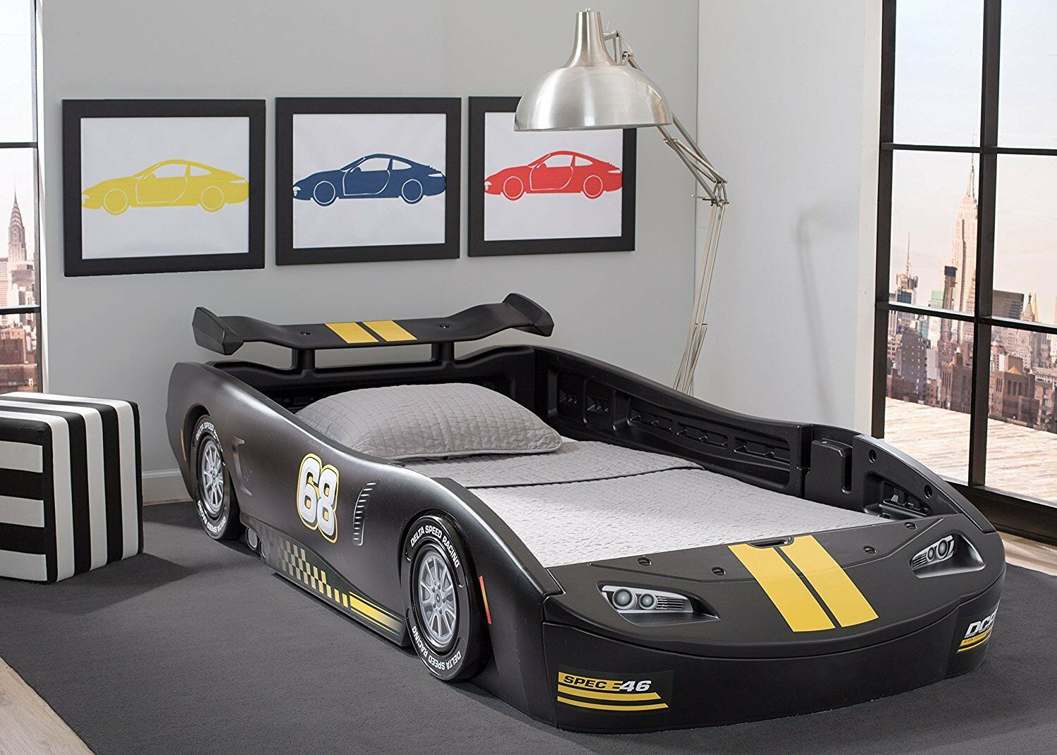 Picture of: Boys Twin Bed Race Car Black Turbo Racing Frame For Kids Teens Bedroom Furniture 619775415232 Ebay