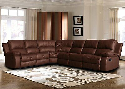 Brown Leather Sectional Sofa (Large Bonded Leather Sectional Sofa with Reclining End Seats)