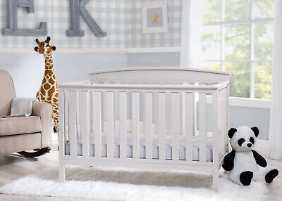 White 4-in-1 Convertible Crib Baby Bed Home Mini Toddler Nursery Wood Furniture