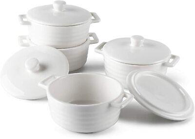 Sweese 510.401 Porcelain Ramekins, 7 Ounce Round Casserole Dish with Lid, 4pcs