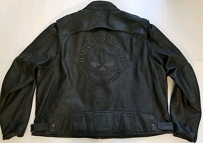 Harley Davidson Willie G Reflective Skull Leather Jacket with Liner Sz 5XL