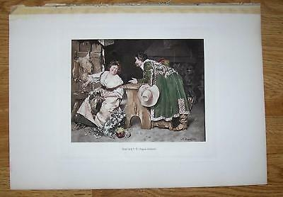 Used, ANTIQUE WOMAN MEAT BUTCHER RABBIT CHICKEN GOOSE HANDSOME MAN FLIRTING ART PRINT for sale  Shipping to Canada