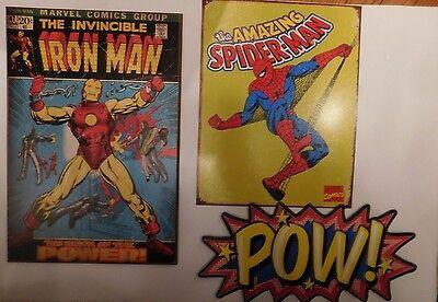 Lot Of 3 Super Heroes Wall Hangings Metal Spiderman & Iron Man Vintage Look
