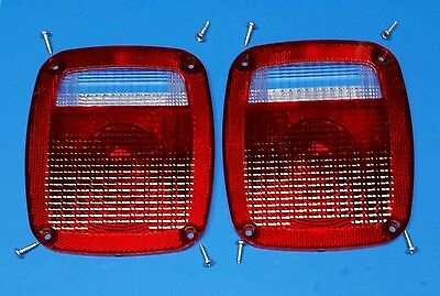 NEW Jeep CJ5 CJ7 CJ8 YJ TJ Wrangler Tail light Lens pair 1976-06 3 YEAR WARRANTY ()