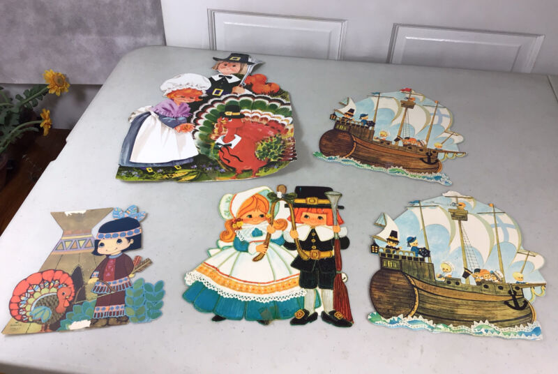 Vintage THANKSGIVING Cardboard Cutouts Decorations Set of 5