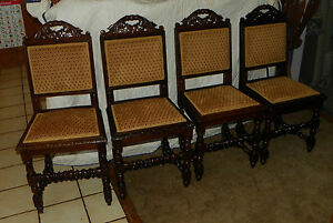 Set-of-4-Quartersawn-Oak-Carved-Dinette-Chairs-gold-diamond-print-DC6