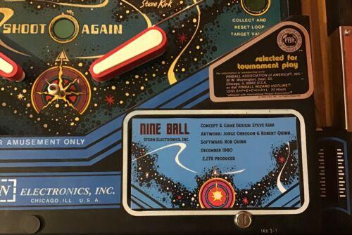 Stern Nine Ball Pinball Custom Apron Cards Set Instruction Rules Information