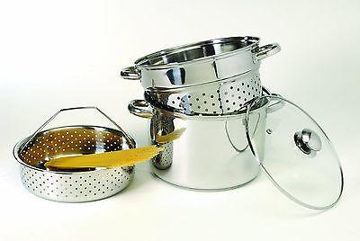 Pasta Cooker Steamer Stock Pot Strainer Drain Boil Stainless Steel Set 8QT 4Pcs
