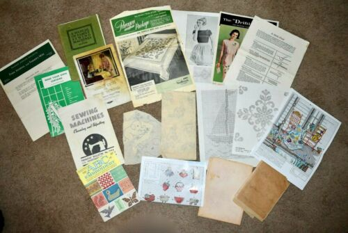 LOT Vintage 1940s Home Craft PATTERNS & INSTRUCTION Embroidery Applique Sewing