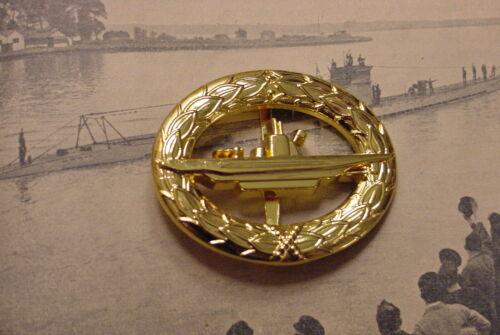 GERMAN NAVY / KRIEGSMARINE WWII SUBMARINE / U-BOOT WAR BADGE - GILT PIN-ON