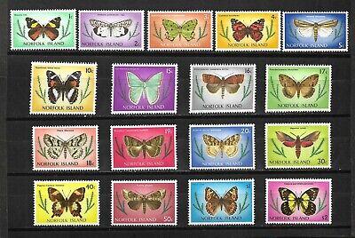 Norfolk Is. 1976-77 Definitive Set ( Moths) Sc#201-17 MNH