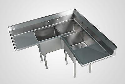 Stainless Stiffen Commercial Corner Sink