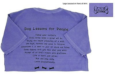Dog Lessons for People T-Shirt Dog Speak 100% Cotton Short Sleeve Tee Purple (Dog T Shirts For People)