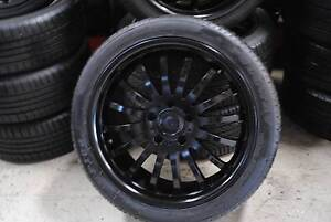 """4 SET BLACK 18"""" ALLOY WHEELS WITH TYRES 5X120 + GOOD CONDITION Virginia Brisbane North East Preview"""