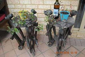 Two wooden side tables with carved figures Leda Kwinana Area Preview