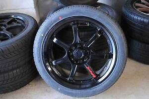"""4 SET BLACK 17"""" ALLOY WITH TYRES + MULTI 4 STUDS + GOOD CONDITION Virginia Brisbane North East Preview"""
