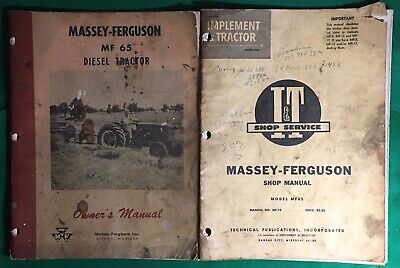 Massey-ferguson Mf65 Diesel Tractor Owners Manual And It Shop Service Manual
